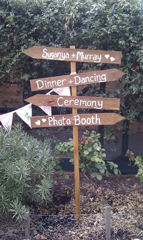 Wooden Wedding Directions Sign   Directional Signs