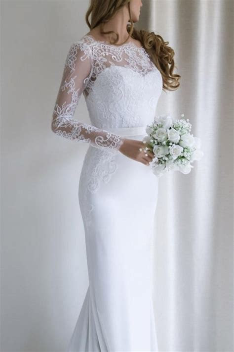 Elegant Mermaid V back Long Sleeves Lace Wedding Dress