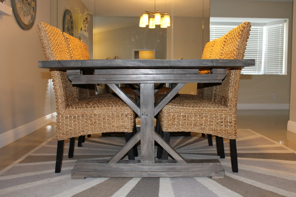 Weathered Gray Fancy X Farmhouse Table With Extensions   Do It ...