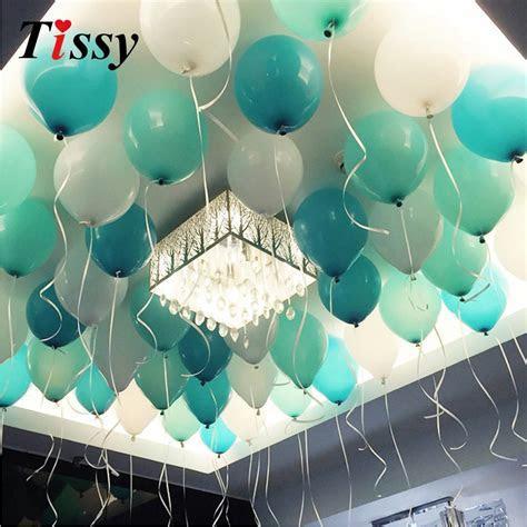 20PCS 10inch Balloons White&Blue&Tiffany Colors Balloons