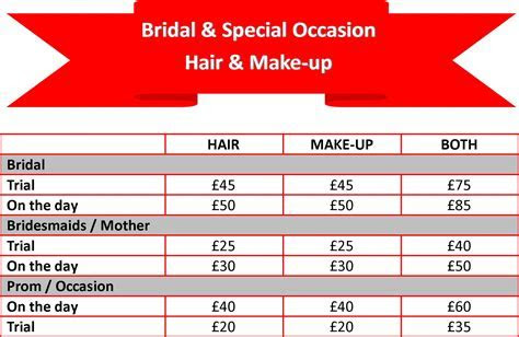 2017 Price list for Bridal & Occasion Hair & Make up