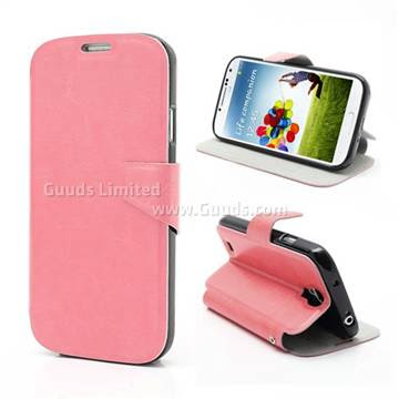 Magnetic Leather Flip Case for Samsung Galaxy S4 i9500 / S IV i9500 i9505 With Built-in Wallet and Stand - Pink