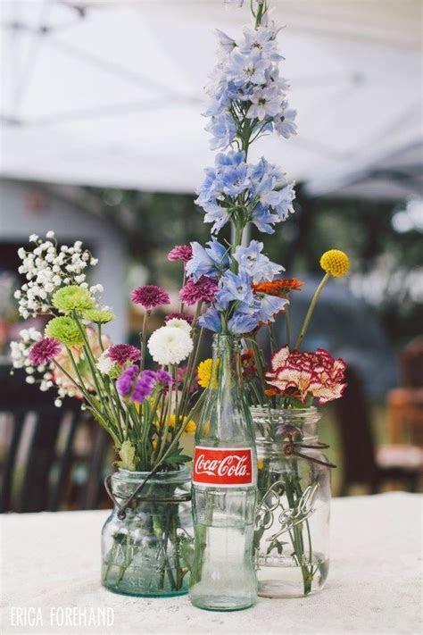 DIY wedding centerpieces // coke bottle   mason jar