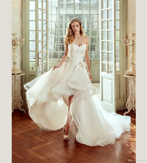 Discount 2017 Nicole High Low Wedding Dresses With