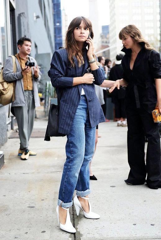 Le Fashion Blog Editor Style Miroslava Duma Blue Pinstripe Blazer Boyfriend Jeans Black Bucket Bag White T Strap Heels Via Popsugar