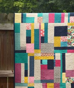 "Fabulous color choices in this ""Random Rectangles Quilt"" by Ellen Luckett Baker."