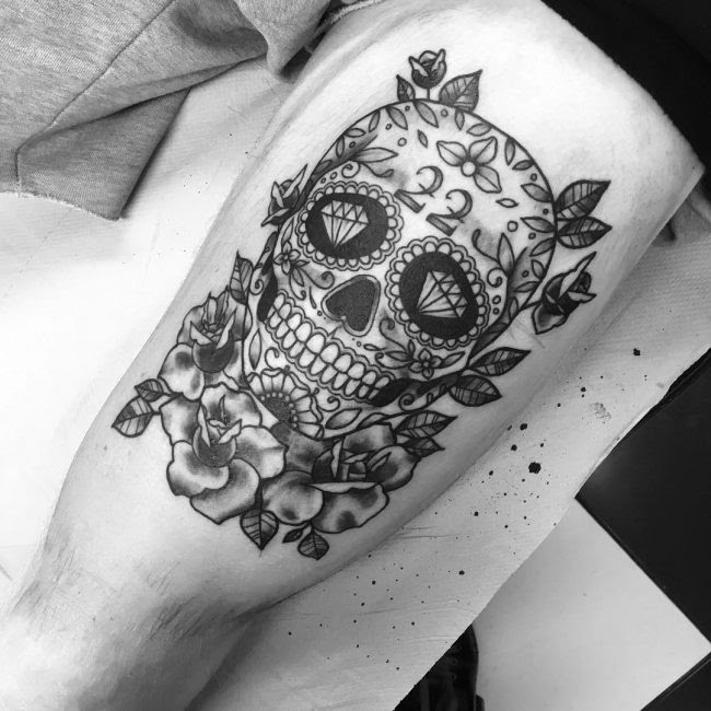 Sugar Skull Flower Tattoo Meaning Flowers Healthy