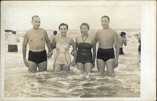 By the sea 19550205 Family in water