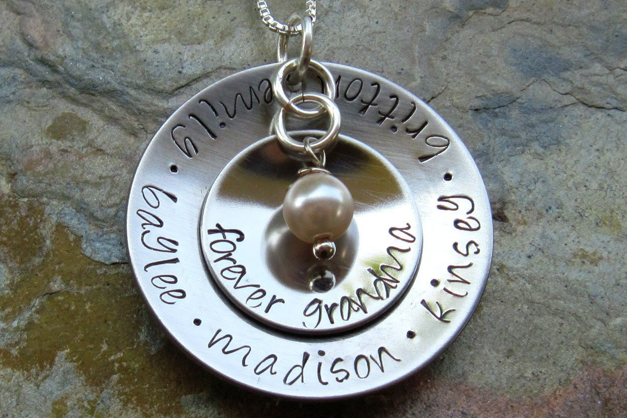 The Brooke - Grandma or Mom Hand Stamped Necklace - Stainless Steel  - Black Friday SUPER SALE