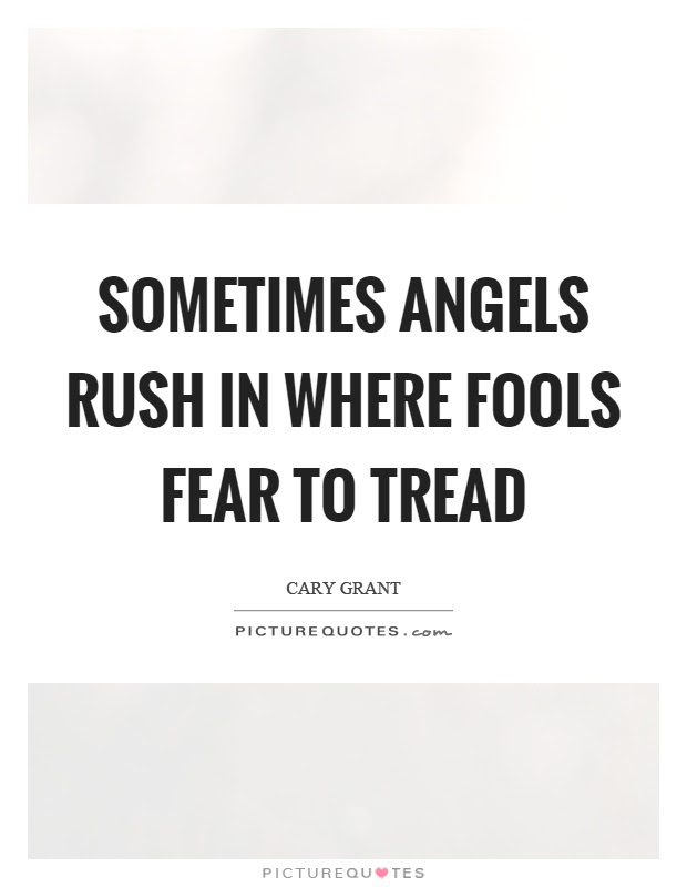 Sometimes Angels Rush In Where Fools Fear To Tread Picture Quotes