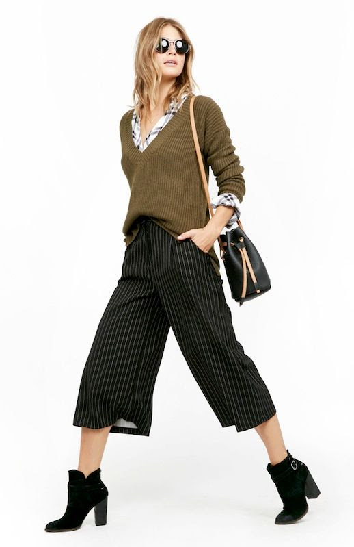 Le Fashion Blog Fall Workwear Round Sunglasses V Neck Sweater Plaid Button Down Shirt Leather Bucket Bag Striped Culottes Black Ankle Boots Office Style Via Daily Look