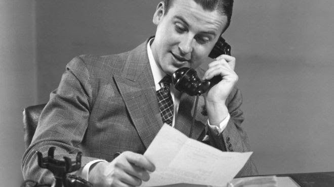 1950s businessman on the phone