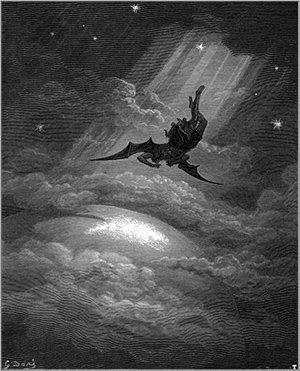 "The fall of Lucifer as depicted in John Milton's ""Paradise Lost""."