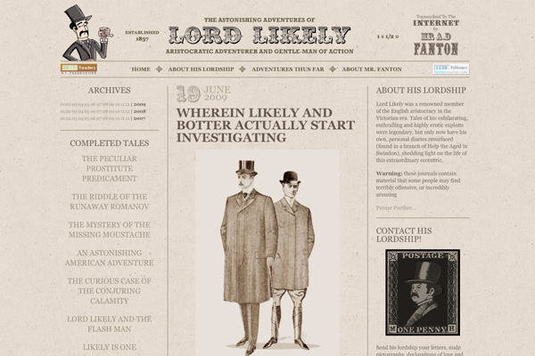 lord likely website design retro classic beige