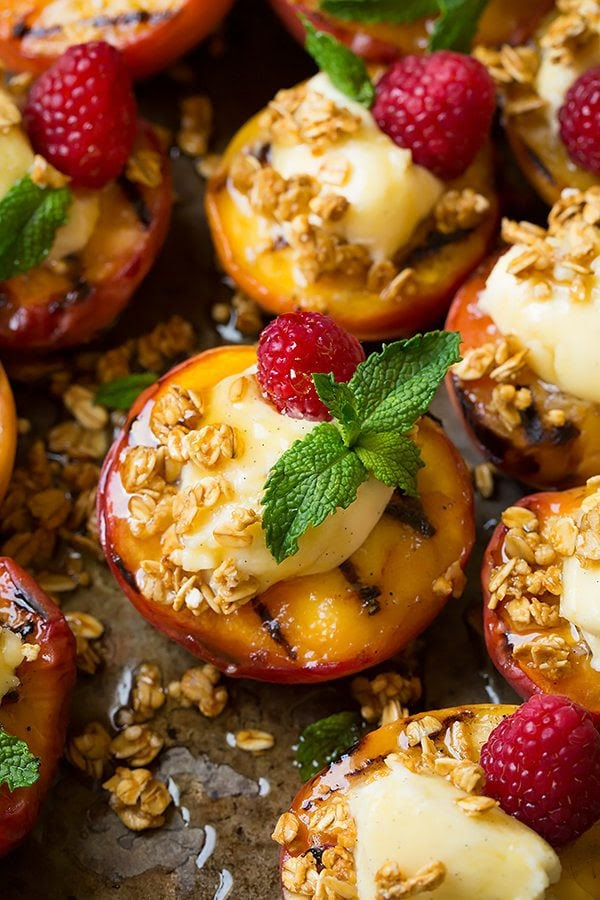 Grilled Peaches with Vanilla Bean Mascarpone, Honey and Granola | Cooking Classy