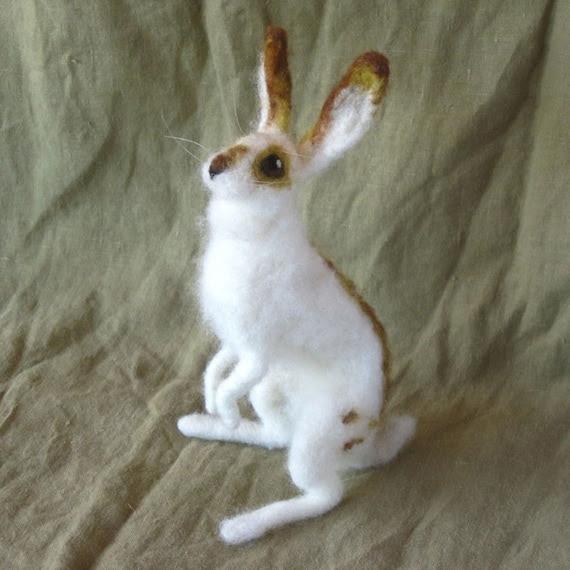 Bunny rabbit, needle felted, poseable wool doll