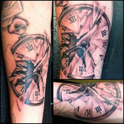 incredible broken clock tattoos