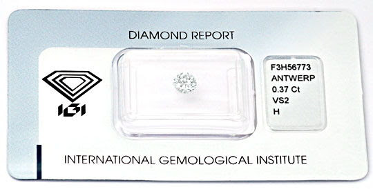Originalfoto DIAMANT, IGI, BRILLANT 0,37ct WEISS WESSELTON H, JUWEL!