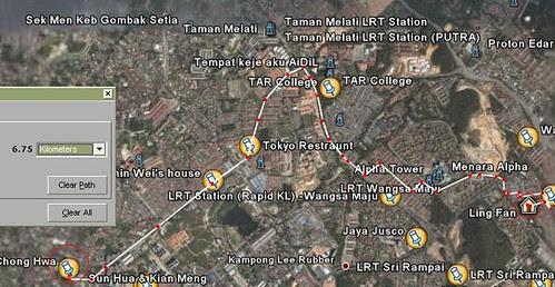 Distance between school and home.