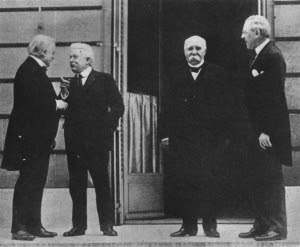 Premiers Lloyd George, Orlando and Clémenceau and President Wilson at Paris