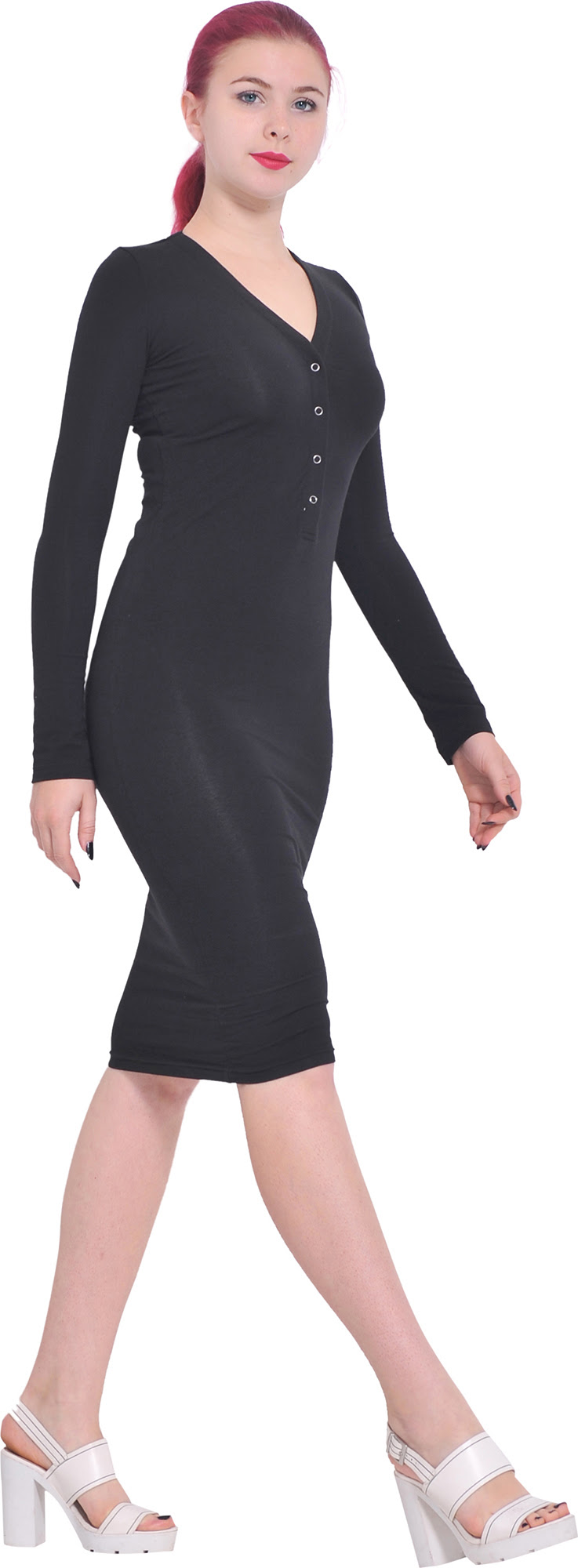 Bodycon length dress knee sleeve long jones
