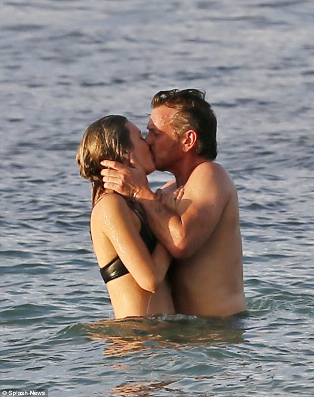 No holding back: The 56-year-old was not shy holding the kiss for some time with Leila