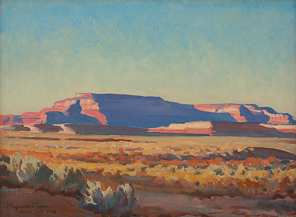 Dixon's 1942 oil painting Shiprock Mesa captures the palette of the desert Southwest. (Image: Mark Sublette Medicine Man Gallery, Tucson, Ariz., and Santa Fe, N.M.)