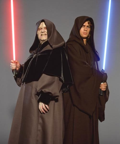 Publicity still of Ian McDiarmid as Darth Sidious and Hayden Christensen as Anakin Skywalker.
