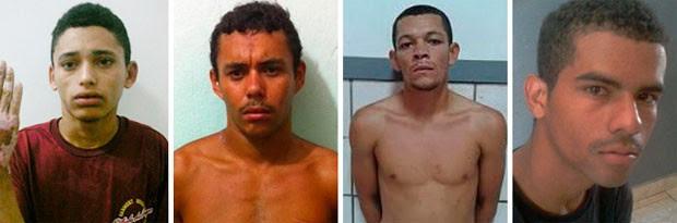 Cledeilson Santos do Nascimento, Rafael Ferino do Nascimento, Pedro Henrique de Morais e Tiago Vicente da Silva (Foto: Divulgação/Polícia Militar do RN)