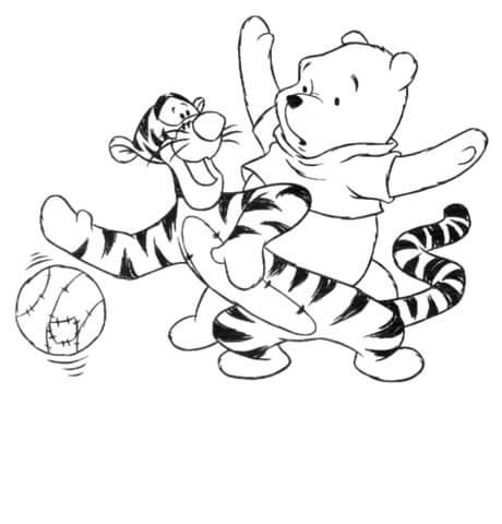 Dibujo De Tigger Y Pooh Jugando A La Pelota Para Colorear Dibujos