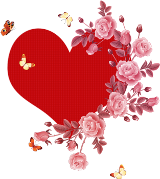 Сердце с розами и бабочками
