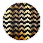 Metallic Gold & Black Chevron Zigzag Pattern Ceramic Knob