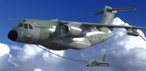 O cargueiro KC 390, fabricado pela Embraer