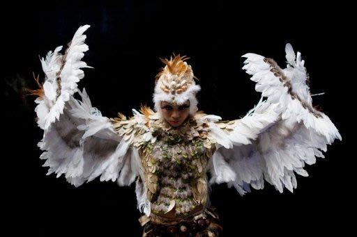 Miss Fiji rehearses in her owl costume