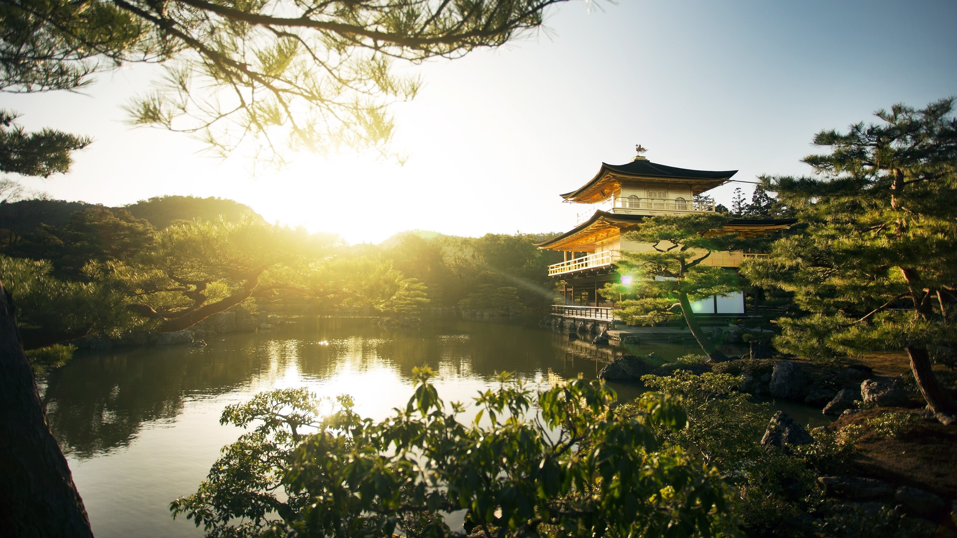 Temple Of The Golden Pavilion, Kinkaku Ji, Kyoto, Japan 4k UHD [3840 X 2160]