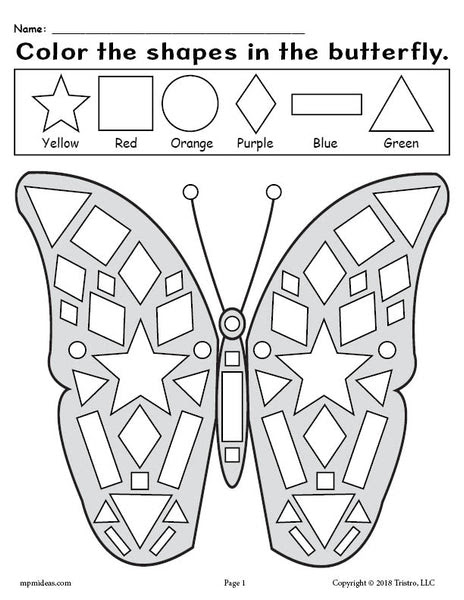 Printable Butterfly Shapes Coloring Pages! - SupplyMe