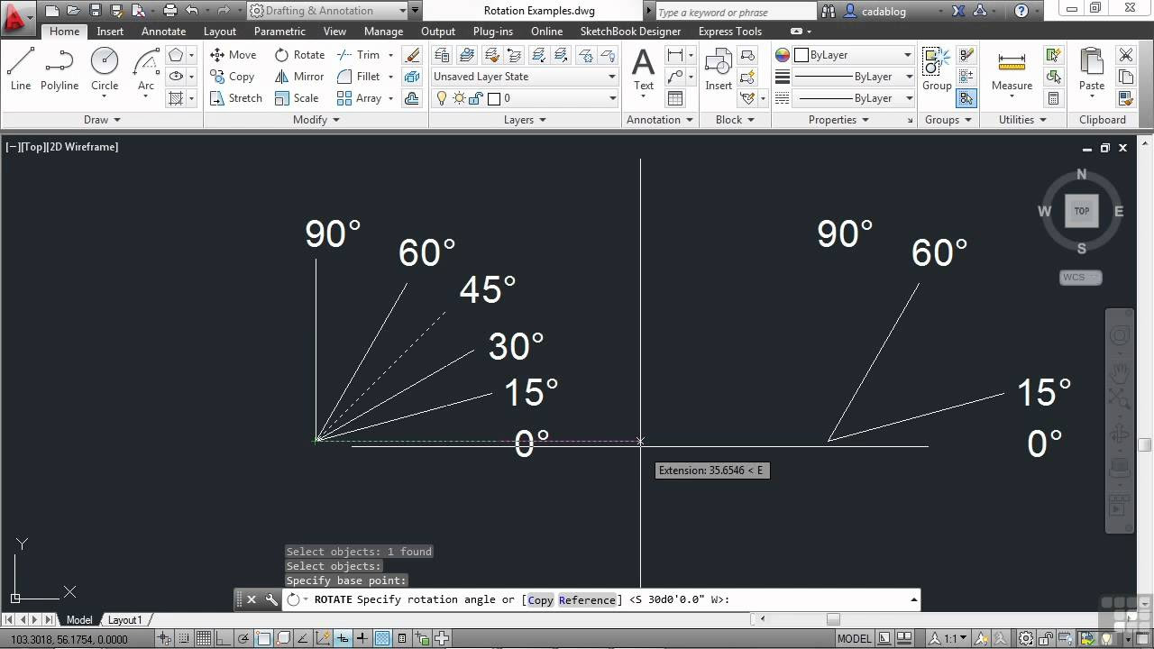 AutoCAD 2013 Tutorial Rotating Objects InfiniteSkills