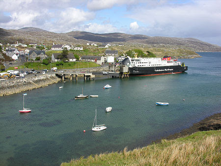Tarbert from the South with the MV Hebrides Docked