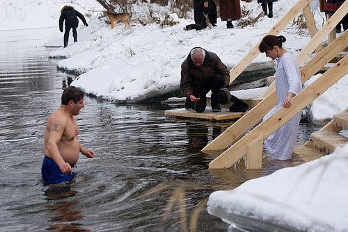 Epiphany bathing in New Jerusalem's monastery