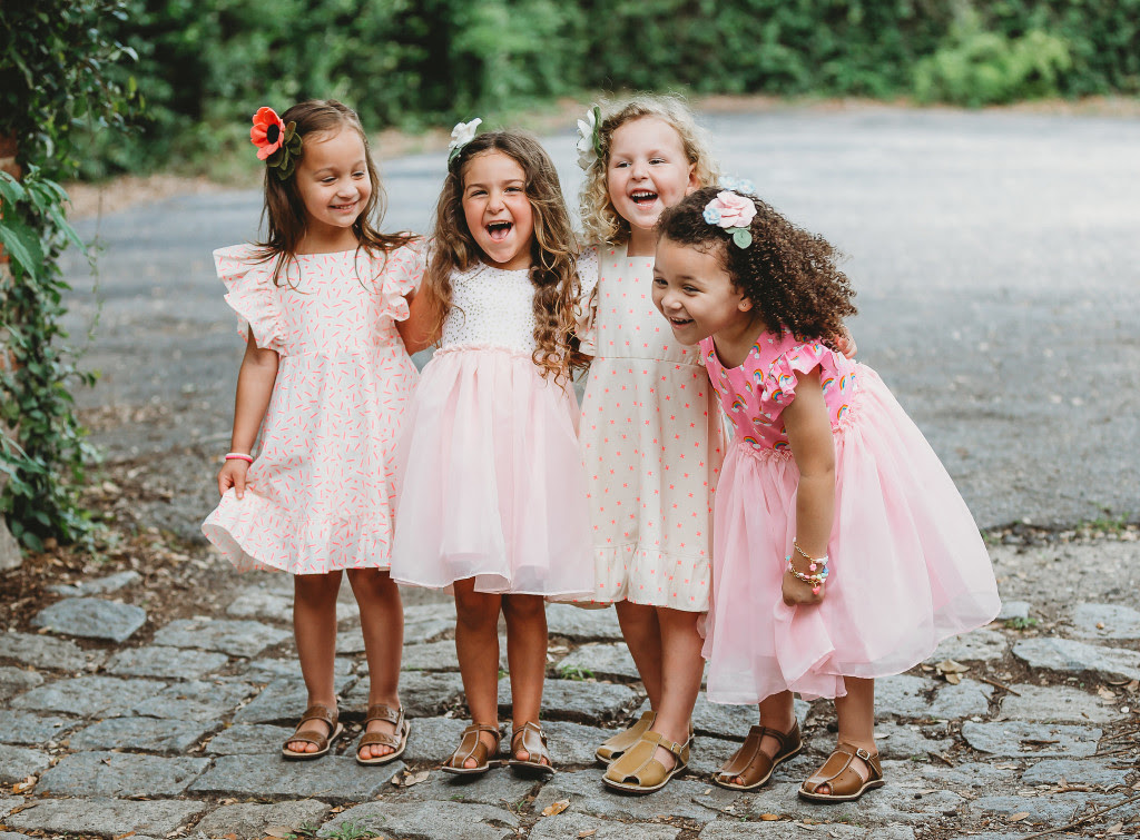 Little girls pink and gold dresses - see more at blog.cuteheads.com