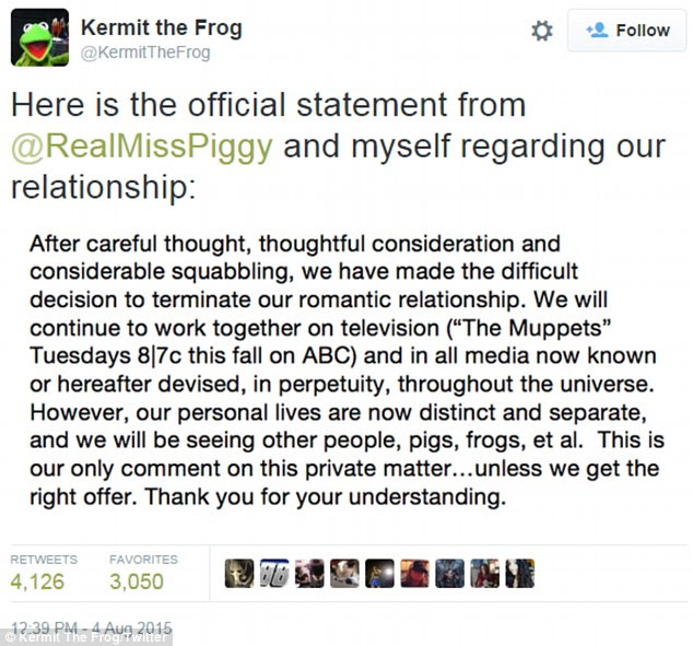 Business as usual: Despite ending the romance, the Muppet ex-lovers decided to continue working together