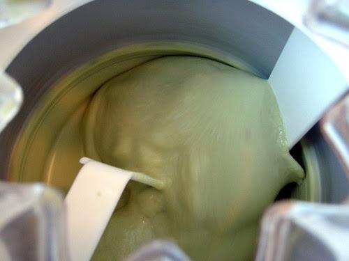 Churning avocado ice cream