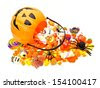Halloween Jack o Lantern pail with spilling candy on white - stock photo