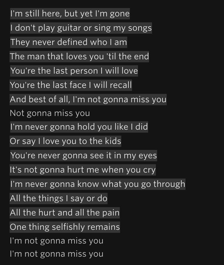 The Lyrics To Glenn Campbells Im Not Gonna Miss You In Case You