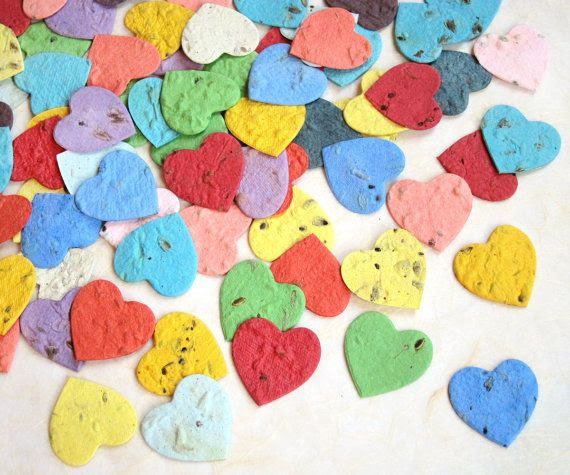 Herb Seed Plantable Paper Hearts  Basil Chives by recycledideas, $36.00 for 200