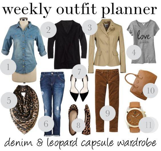 9.23 weekly outfit planner: denim & leopard capsule wardrob ...