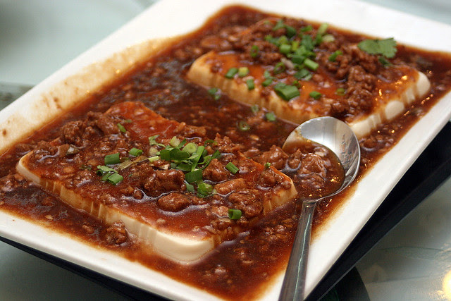 Steamed Beancurd with minced meat and salted fish