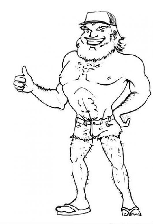 Pedir Jalon Dibujo De Viejo Semi Desnudo Pidiendo Jalon En La