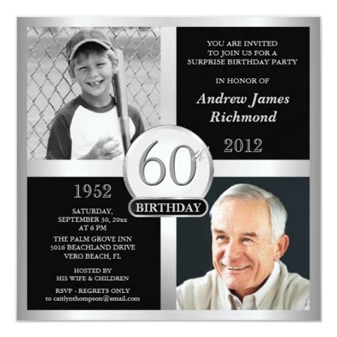 60th Birthday Invitations Then & Now Photos   Zazzle