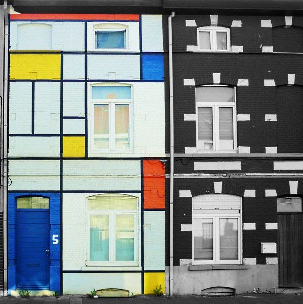 Fachada Piet Mondrian em Ghent-Bélgica
